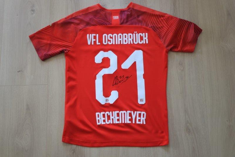 "VfL Osnabrück 2019/20 Away Sonderpatch ""Corona Warn-App"" signiert, Nr. 21 Beckemeyer (Zweitliga-Debüt-Matchworn gg Dynamo Dresden 28.06.20)"
