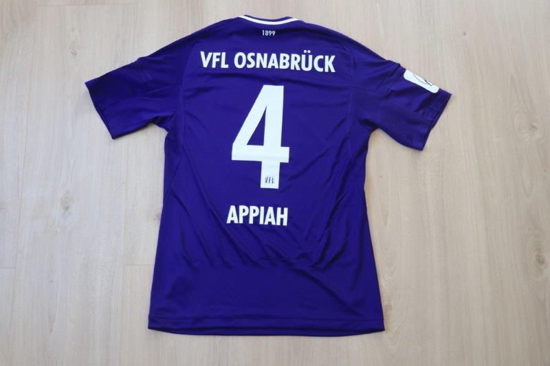 VfL Osnabrück 2017/18 Heim L+T-Patch überflockt, Nr. 4 Appiah (Matchworn)