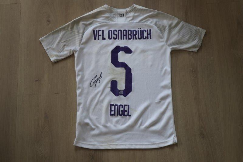 """VfL Osnabrück 2019/20 Away Sonderpatch """"Corona Warn-App"""" signiert, Nr. 5 Engel (Matchworn gg Dynamo Dresden 28.06.20)"""