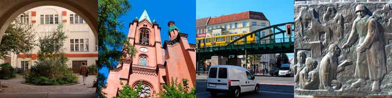 In Pankow: begrünter Hof; Gethsemanekirche; Hochbahn Schönhauser Allee; Reliefbilder Befreiung vom deutschen Faschismus. Foto: Helga Karl