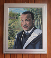 Bild von Martin Luther King. Es hängt in der Ev. Kirche Martin-Luther-King in Berlin-Neukölln. Foto: Helga Karl