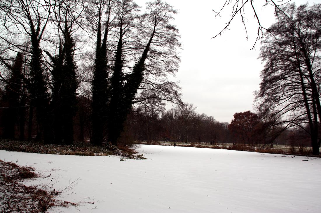 Schneebedecktes vereistes Wasser an der Spitze der Luiseninsel im Schlossgarten Charlottenburg. Foto: Helga Karl