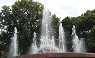 Wasserfontänen vor Bäumen. Stierbrunnen Arnswalderplatz Berlin. Foto: Helga Karl