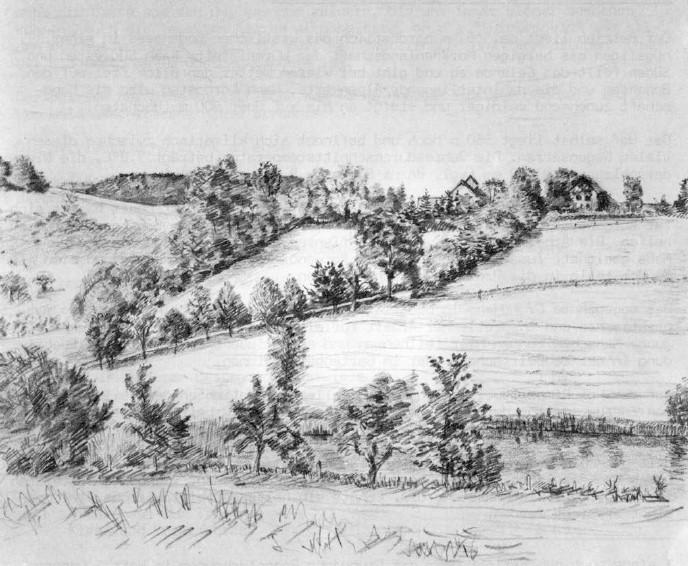 Ansicht vom Löschteich, noch mit dem alten Kuhstall