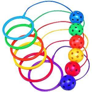 Jeu de balle au pied, corde à sauter enfants ou skip'n hoop. Matériel de jeu enfants de skip n hoop à acheter pas cher.