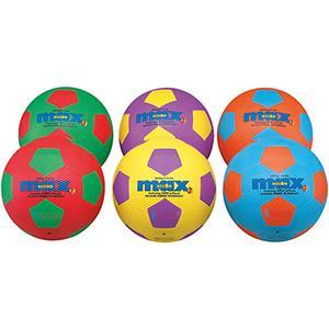 Lot de 6 ballons de football en caoutchouc pour les enfants. Ballons multicolores au meilleur prix!