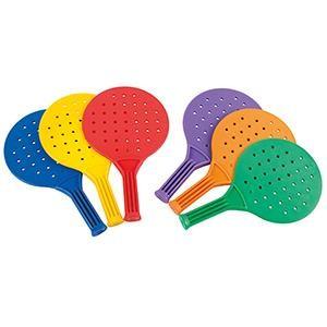 Lot de 6 raquettes de Padel multicolorées pour enfants.