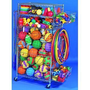 Chariot de grande taille à matériel sportif : matériel de rangement de ballons de sport de foot, volley, basket-ball, handball...