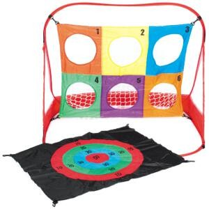 Cible 3 en 1 : but de foot, lancers de précision avec balles, jeux de calculs