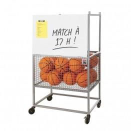 Chariot de rangement matériel sportif : ballons de foot, basket, handball, volleyball