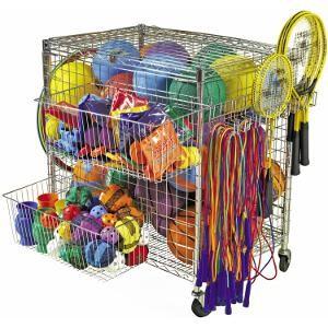 Chariot à matériel sportif : matériel de rangement de ballons de sport de foot, volley, basket-ball, handball...