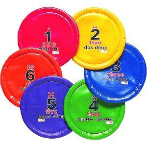 Disques volants avec numéros, chiffres et lettres. Matériel de 6 disques volants numérotés à acheter pas cher.