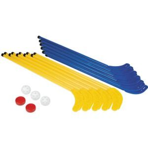 Crosses de hockey pour enfants: 10 jaunes et 10 bleues avec balles de jeu : lot de crosses de hockey à prix discount!