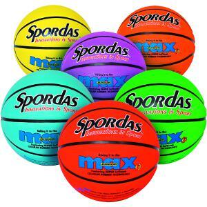 Lot de 6 ballons de basket-ball caoutchouc pour enfants de marque Spordas
