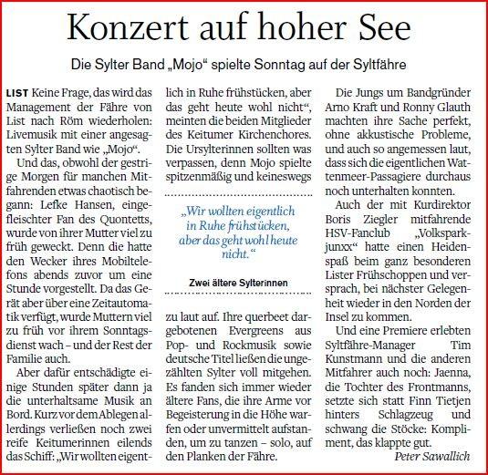 Quelle: Sylter Rundschau 01.04.2014