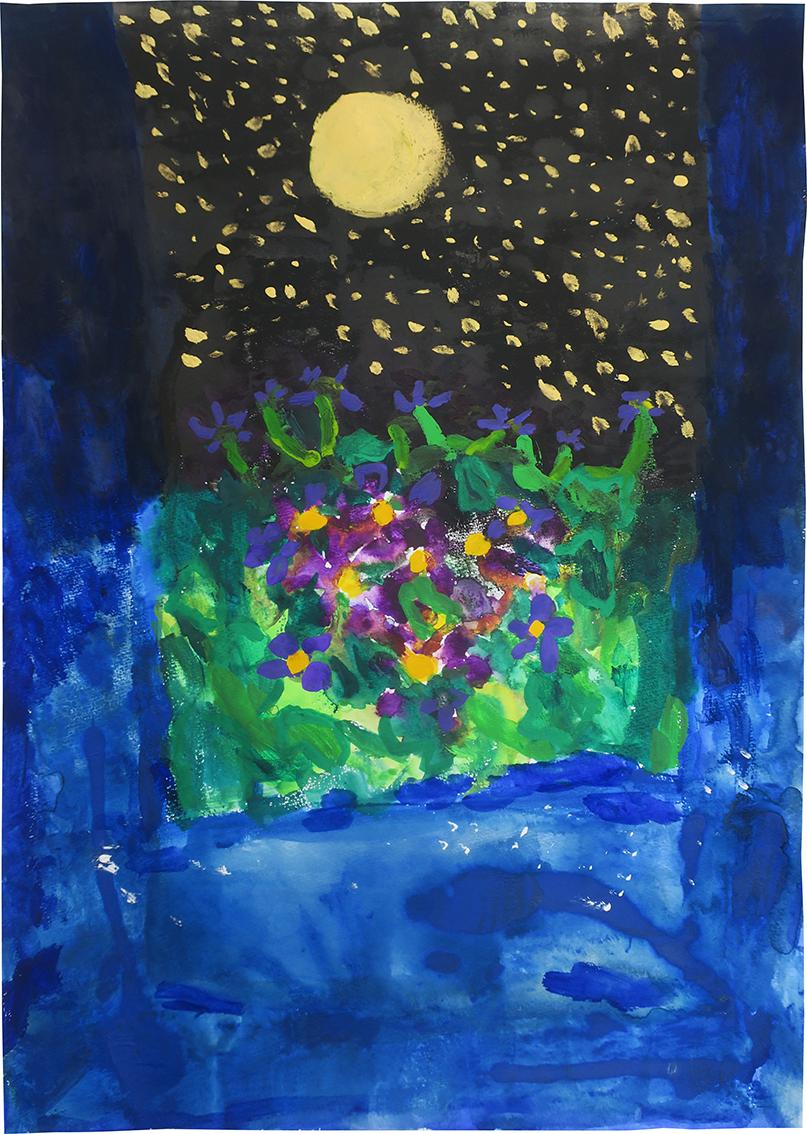 スーパームーンとむらさきの花 (四つ切 水彩絵の具) 4年生 S.R.さん
