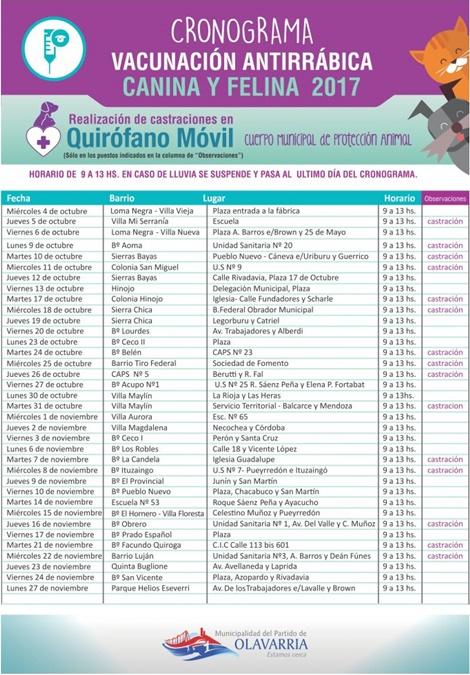 Cronograma de vacunación antirrábica de noviembre