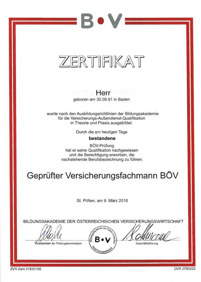 Zertifikat als Versicherungsagent
