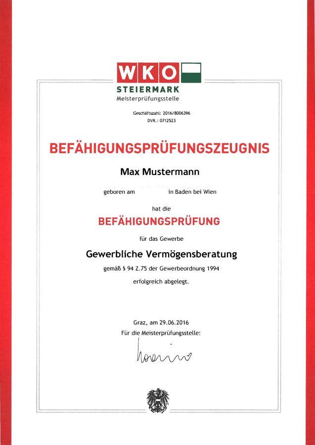 Zertifikat zur bestandenen Meisterprüfung