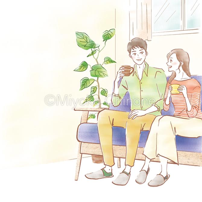 ソファーでくつろぐ夫婦のイラスト