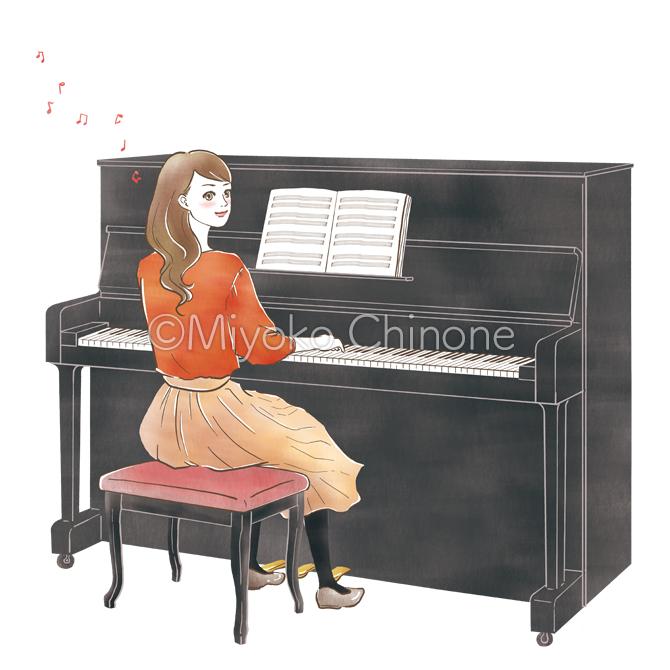 ピアノを弾いている女性のイラスト