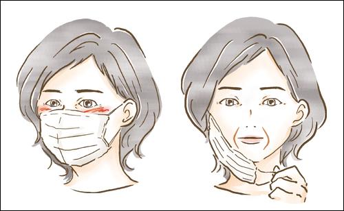 マスクをつけた女性のイラスト 雑誌ハルメク 挿絵を担当しました