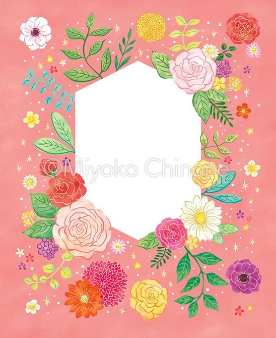 花のフレームのイラスト