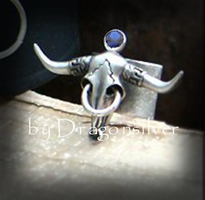 Bulls Ring - Saphier - Sterling Silber