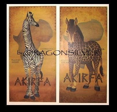 Zebraffe und Gebra, Acryl auf Holz je 150 x 80 cm