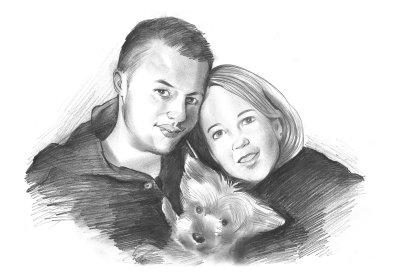 Karikatur vom Foto in Bleistift, schwarz weiß