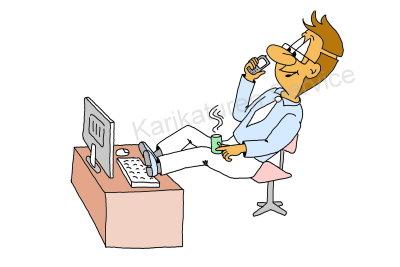 Cartoon Schreibtisch, Pause, Arbeit