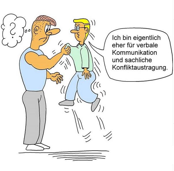 Karikatur Kommunikation, Konfliktaustragung