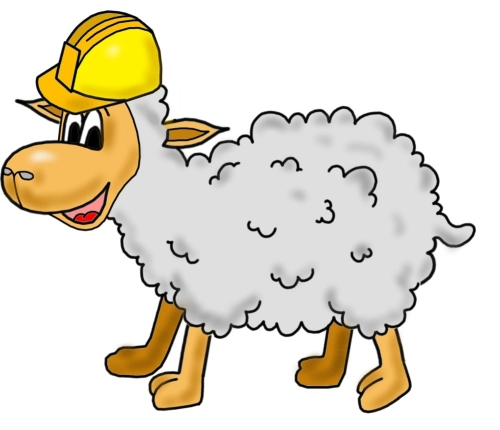 Karikatur Schaf mit Bauhelm erstellen lassen