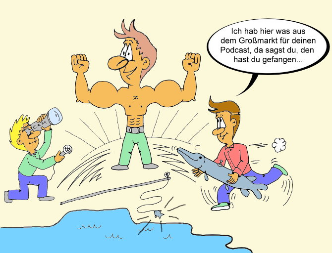 Karikatur Podcast, Angler, Fisch, Fitness