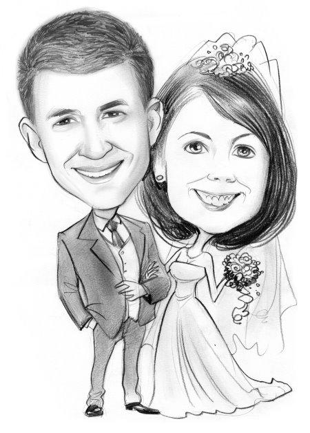 Karikatur vom Foto Hochzeit, Heirat, Eheschließung