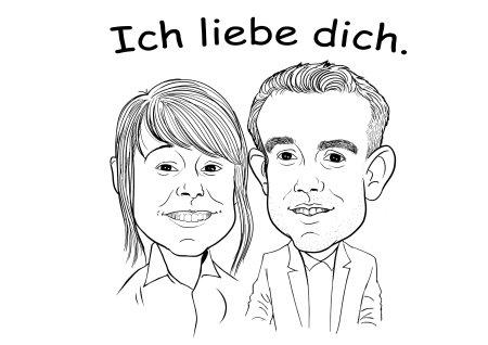 Portrait zeichnen lassen, mit  Freund, Freundin