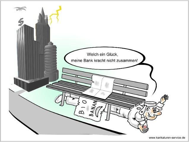 Karikatur Finanzmarktkrise, Finanzkrise  2008, Bankenkrise