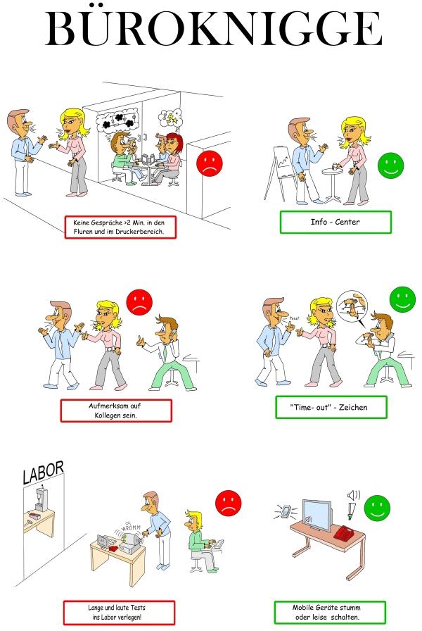 Karikaturen Büro Knigge, Verhaltensregeln