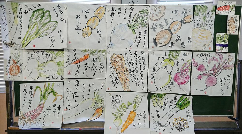 なでしこ 大きな紙に野菜を描く