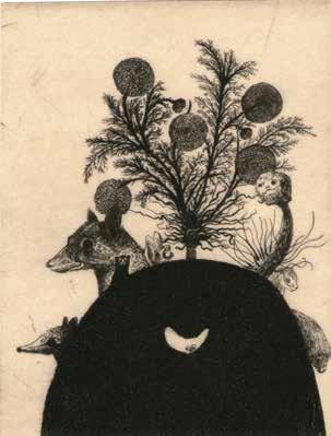 """Didier HAMEY """"Tanuki"""" Pointe sèche sur velin lana collé sur papier japon - 13 x 11 cm"""