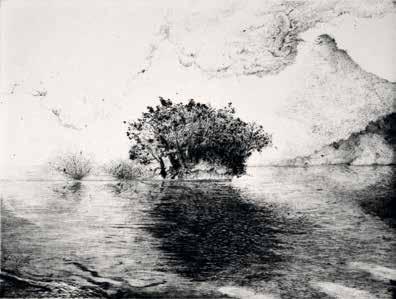 """Hélène VARCHAVSKY """"Grondements"""" Pointe sèche - 15 X 20 cm"""