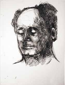 "Madeleine FLASCHNER ""Portrait de l'homme chauve"" Pointe sèche - 24 x 20 cm"