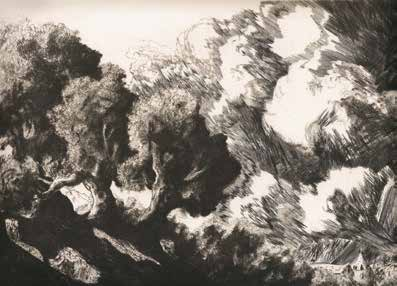 "Alexandre BALDO ""Rafales"" Pointe sèche et burin - 21 x 30 cm"