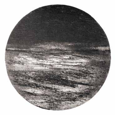 """Françoise BOZELLEC """"Sans titre"""" Pointe sèche et cutter sur carton - 45 x 45 cm - Ø 31 cm"""
