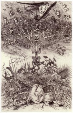 Rops - Les Epaves, 1866, Frontispice pour l'ouvrage éponyme de Charles Baudelaire