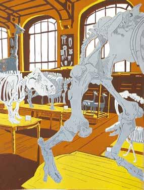 """Quentin PRÉAUD """"Pied sur la table"""" Linogravure à planche perdue - 43 x 32 cm"""