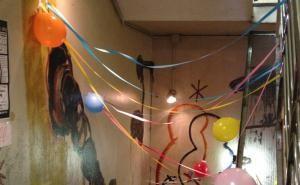 入口の飾りつけ。毎年このイベントでは風船を使った飾りつけがあるんだよね。優しさを感じるから好きだ。