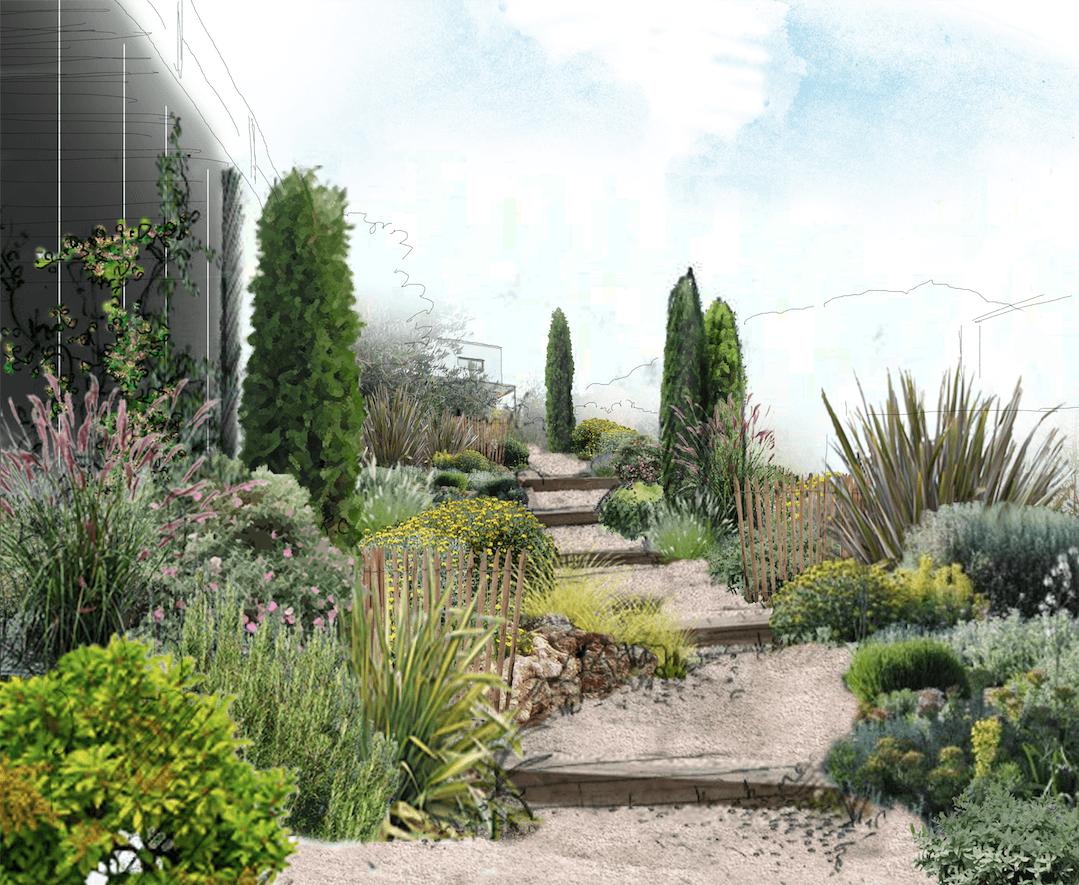 Entrée d'un jardin méditerranéen à Lancon Provence © Rc-Paysage