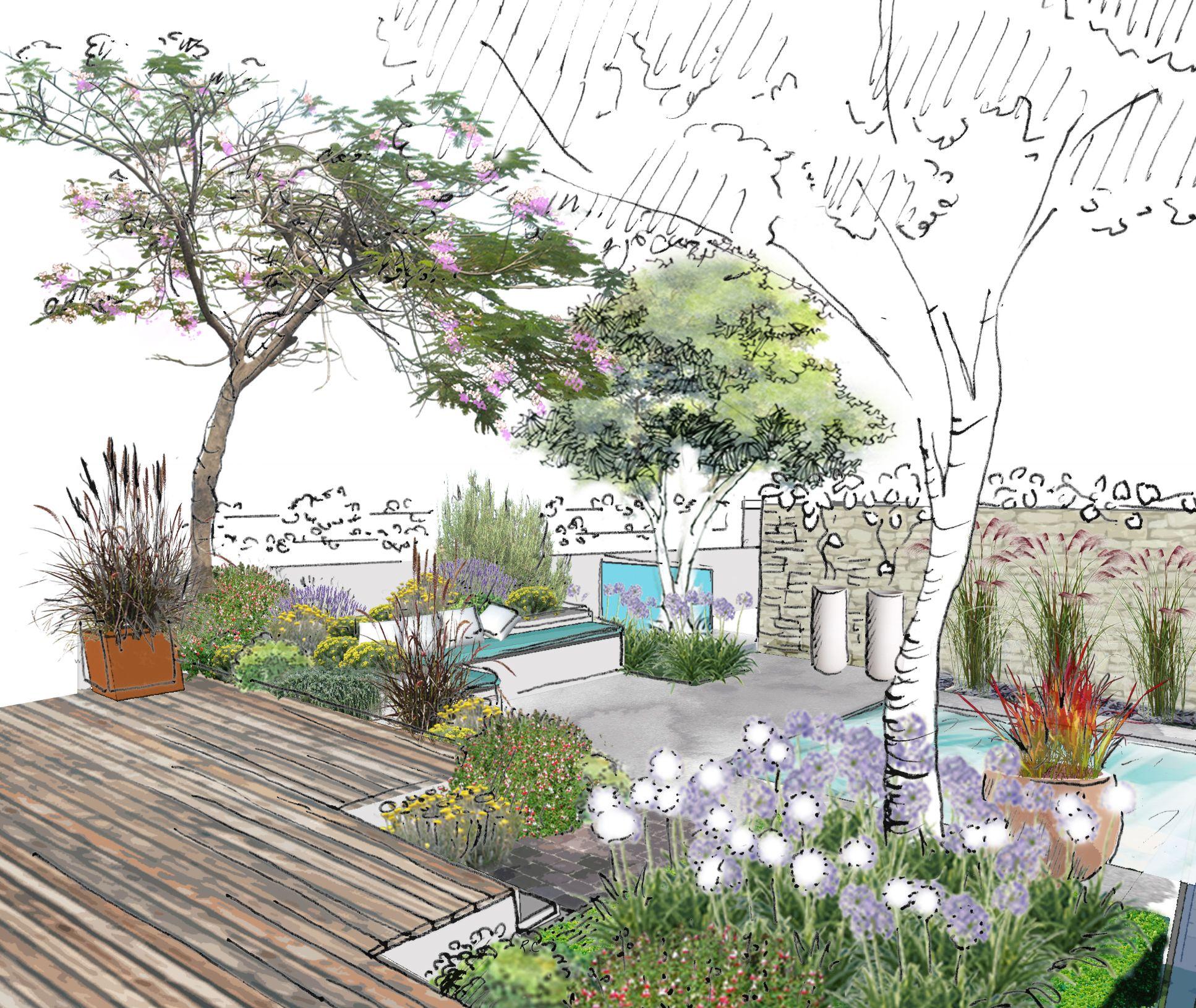 Aménagement d'un petit jardin contemporain à Auriol © Rc-Paysage