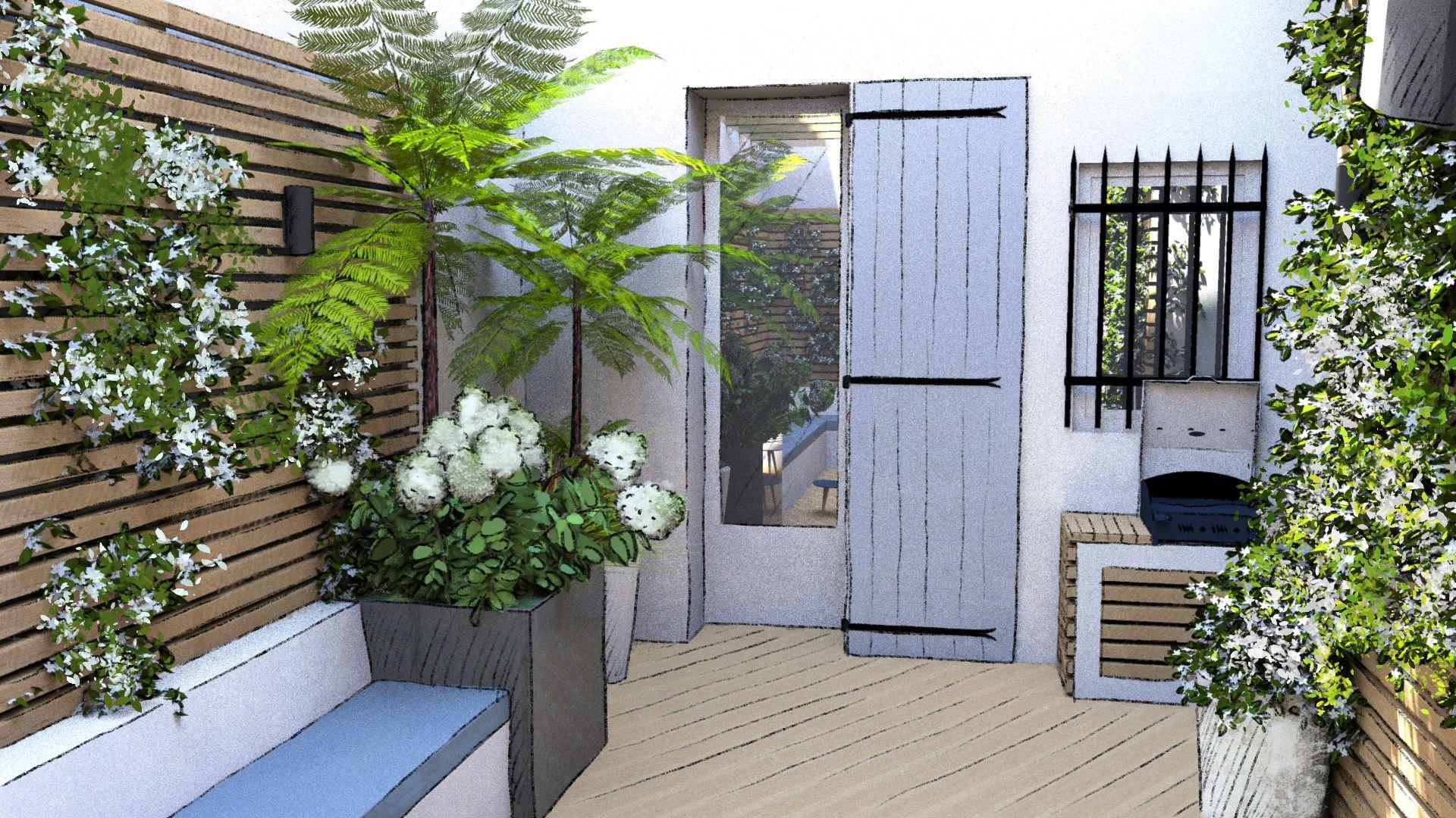 Aménagement d'un patio terrasse à Aix-en-Provence © Rc-Paysage